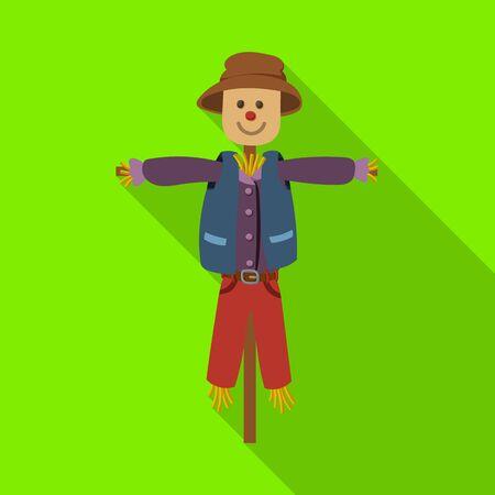 Scarecrow vector icon.Flat vector icon isolated on white background scarecrow. 일러스트