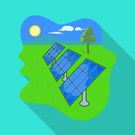 Solar panel vector icon.Flat vector icon isolated on white background solar panel .