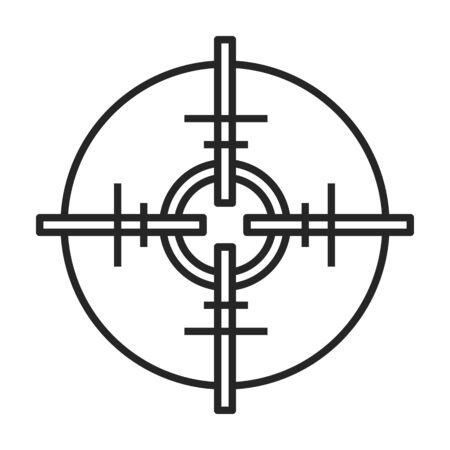 Scharfschützen-Anblick-Vektor-Symbol. Umriss-Vektor-Symbol auf weißem Hintergrund Scharfschützen-Anblick.