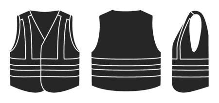 Safety vest vector illustration on white background . Jacket of worker vector black set icon. Isolated black set icon safety vest.