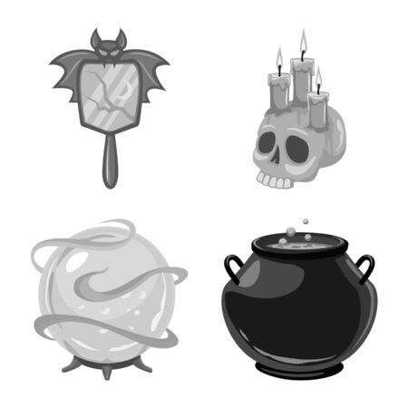 Vector illustration of gothic and fantasy icon. Collection of gothic and witchcraft vector icon for stock. 일러스트