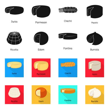 Vector design of breakfast and piece sign. Collection of breakfast and product vector icon for stock.
