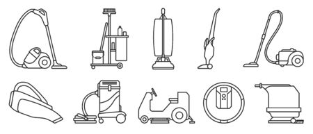 Vacuum cleaner Outline vector illustration on white background . Set icon vacuum cleaner for cleaning .Outline vector icon hoover for cleaning carpet.