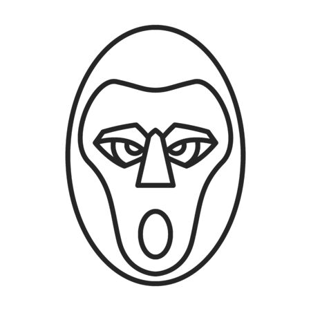 African mask vector icon.Outline vector icon isolated on white background african mask.