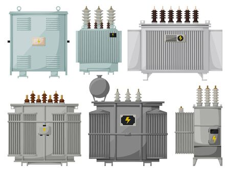 Transformer vector installation on white background . Isolated cartoon set icon energy substation. Vector cartoon set icons transformer.