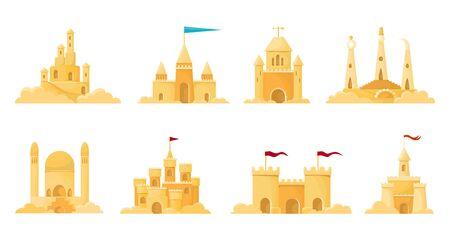 Sand castle vector illustration on white background . Sandcastle vector cartoon set icon. Isolated cartoon set icon sand castle.
