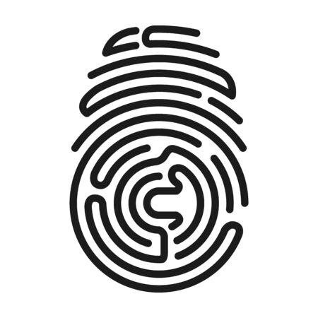 Fingerprint vector icon.Black vector icon isolated on white background fingerprint .