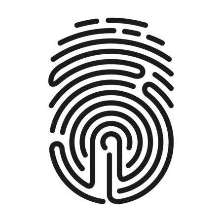 Fingerprint vector icon.Black vector icon isolated on white background fingerprint . Ilustración de vector
