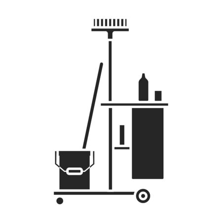 Cleaning of trolley vector icon.Black vector icon isolated on white background cleaning trolley. 向量圖像