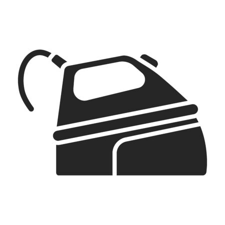Steam iron for home clothes vector Black icon.Black illustration of laundry appliance and hot steam iron. Vecteurs