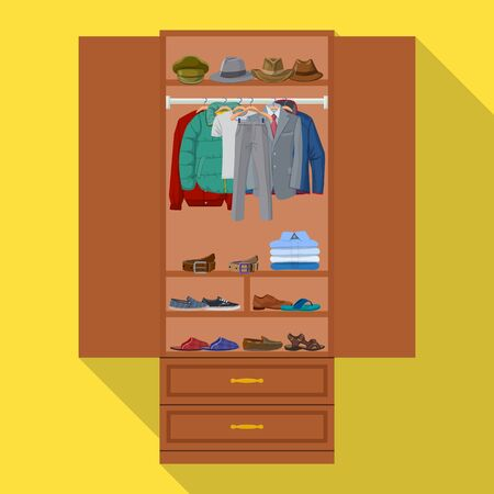 Wardrobe for clothes vector icon.Flat vector icon isolated on white background wardrobe for clothes . Vettoriali
