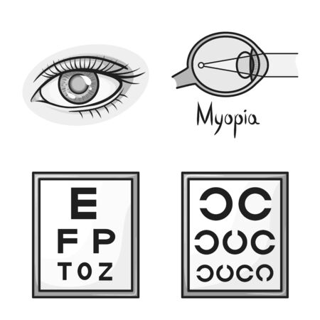 Vector design of vision and correction icon. Collection of vision and optometry stock symbol for web.