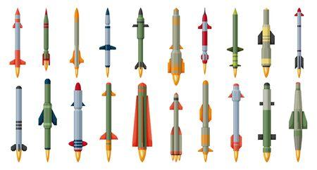 Ballistic missile vector cartoon set icon. Vector illustration military rocket on white background . Isolated cartoon set icon balistic missile. Illusztráció