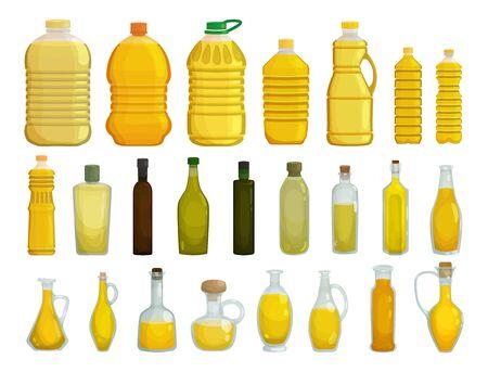 Sunflower oil isolated vector illustration on white background . Vector cartoon set icon bottle of oil. Isolated cartoon set icons sunflower product. Ilustração
