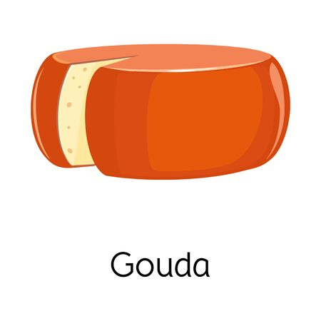 Vector illustration of cheese and gouda sign. Graphic of cheese and block vector icon for stock. Иллюстрация