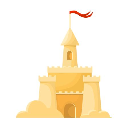 Sand castle vector icon.Cartoon vector icon isolated on white background sand castle . Illustration