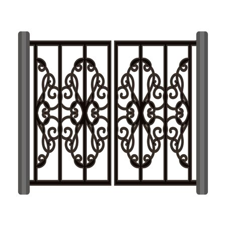 Metal gate vector icon.Cartoon vector icon isolated on white background metal gate.