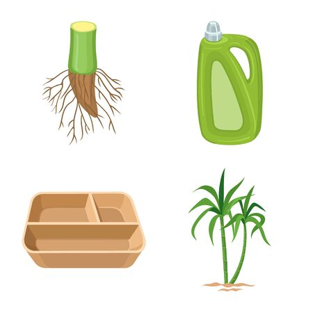Vector design of sugarcane and plant icon. Collection of sugarcane and agriculture vector icon for stock.