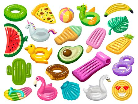 Water mattress vector cartoon set icon. Vector illustration inflatable swimming equipment on white background. Isolated cartoon set icons water mattress.