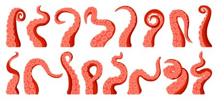 Octopus of tentacle isolated cartoon icon. Sea squid vector cartoon set icons. Vector illustration octopus of tentacle on white background . Vetores