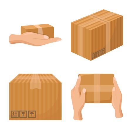 Vector illustration of parcel and product logo. Collection of parcel and container stock symbol for web.