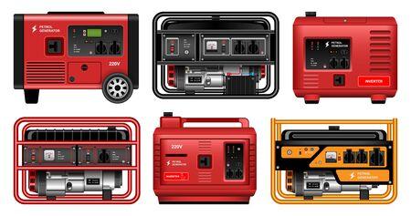 Electric generator vector realistic set icon. Vector illustration petrol generator on white background. Realistic set icons alternator.