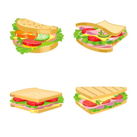 Isolated object of sandwich and fastfood logo. Collection of sandwich and lunch stock vector illustration. Logo