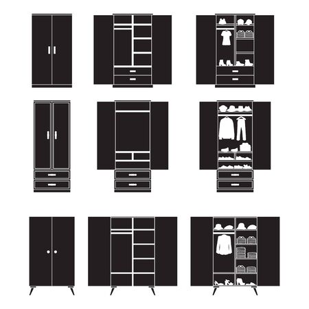Wooden cupboard isolated black icon. Vector illustration room furniture of wardrobe on white background . Vector black set icon room cupboard.