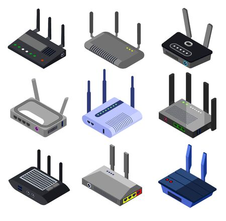 Wifi router vector isometric set icon. Isolated isometric set icon internet modem. Vector illustration wifi router on white background.
