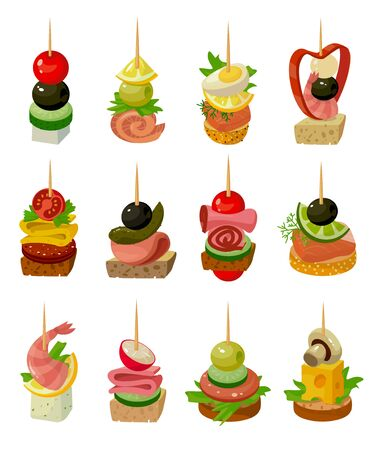 Canape of food vector illustration on white background. Isolated cartoon set icon appetizer. Vector cartoon set icon canape of food.