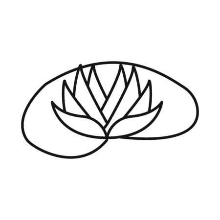 Vector illustration of flower and lotus symbol. Set of flower and leaf stock symbol for web.
