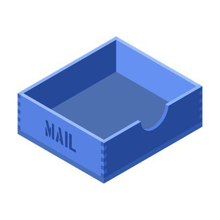 Postal box vector icon. Isometric vector icon isolated on white background wooden box . Ilustracja