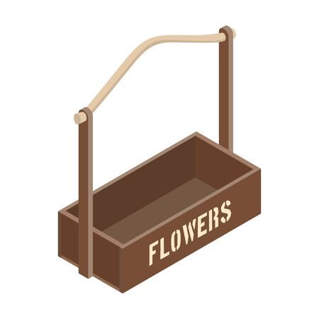 Flowers box vector icon. Isometric vector icon isolated on white background flowers box .