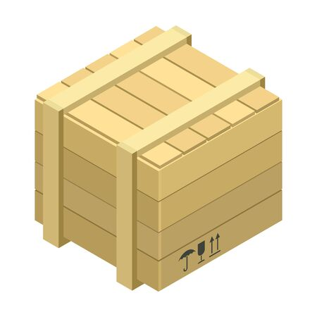 Wooden box vector icon. Isometric vector icon isolated on white background wooden box .