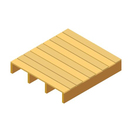 Pallet wooden vector icon. Isometric vector icon isolated on white background pallet wooden.