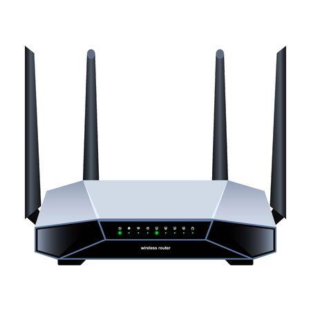 Router-Vektor-Symbol. Realistische Vektor-Symbol auf weißem Hintergrund Router.