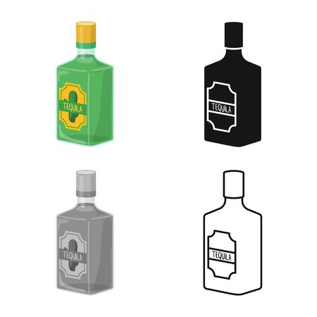 Isolated object of bottle and tequila symbol. Web element of bottle and glass vector icon for stock.