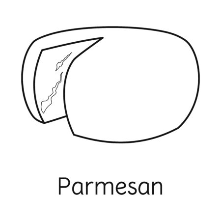 Isolated object of cheese and parmesan sign. Graphic of cheese and slice vector icon for stock. Çizim
