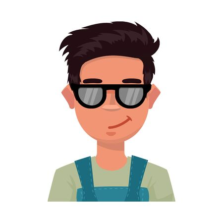 Vector illustration of guy and contempt icon. Collection of guy and glasses stock symbol for web. Çizim