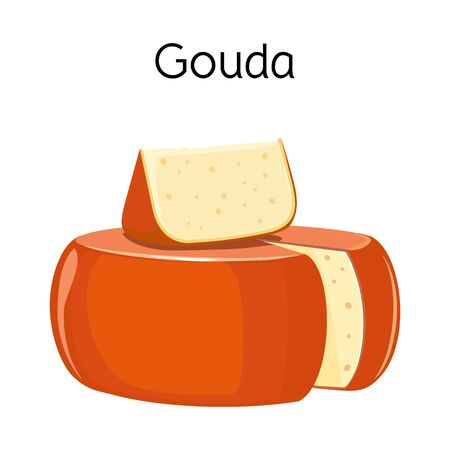 Vector illustration of cheese and gouda symbol. Web element of cheese and block vector icon for stock.