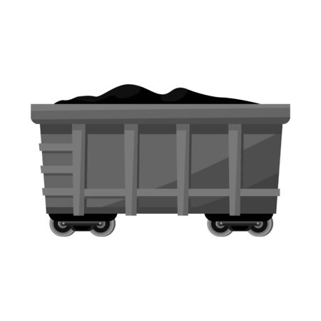 Vector design of wagon and cargo logo. Web element of wagon and coal stock symbol for web.