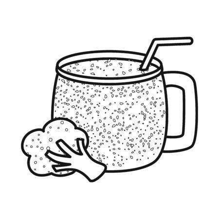 Vector illustration of broccoli and smoothie logo. Collection of broccoli and summer stock vector illustration. Çizim