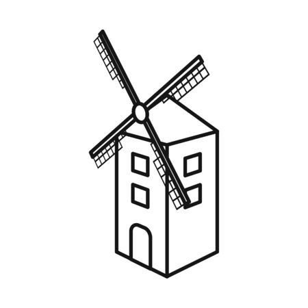 Isolated object of mill and wheat logo. Collection of mill and windmill stock vector illustration.