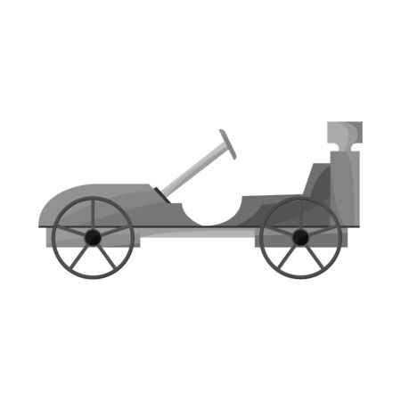 Vector illustration of car and old sign. Web element of car and exclusive stock symbol for web.