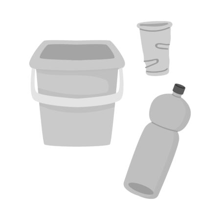 Vector design of plastic and implements icon. Graphic of plastic and rubbish vector icon for stock.