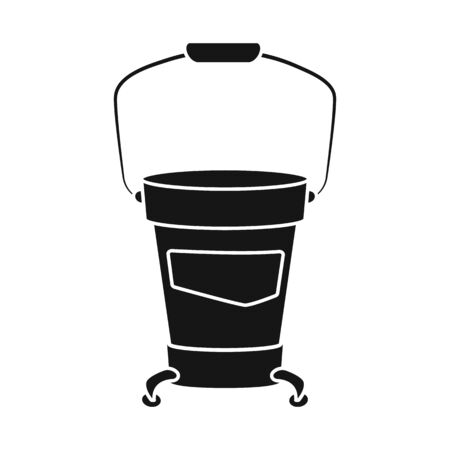 Vector design of bucket and wash symbol. Graphic of bucket and hygiene vector icon for stock. Çizim