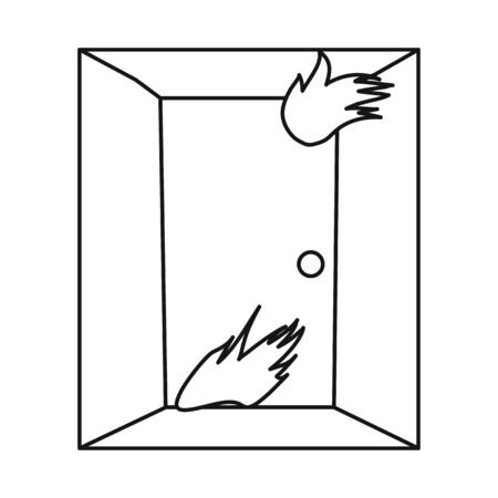 Isolated object of door and flame sign. Collection of door and exit vector icon for stock.