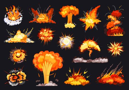 Explosion vector cartoon set icon. Vector illustration exploded on white background. Isolated cartoon set icons explosion . Vettoriali