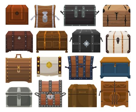 Chest box isolated cartoon set icon. Vector cartoon set icons coffer. Vector illustration chest box on white background.