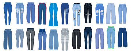 Jeans pants vector cartoon set icons. Vector illustration woman pants on white background. Isolated cartoon set icon type of jeans. 向量圖像